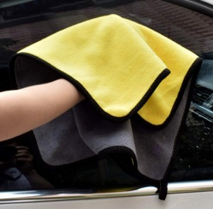 dual layers coral fleece microfiber car detailing towel