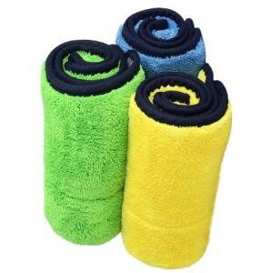 Microfiber dual layers coral fleece towel for car detailing