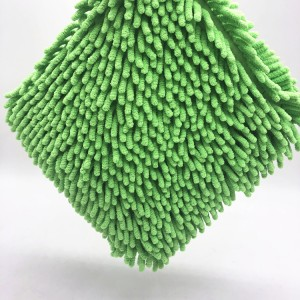 Car Wash Pad 23*23cm Super Absorbent Green Color Microfiber Chenille Pad