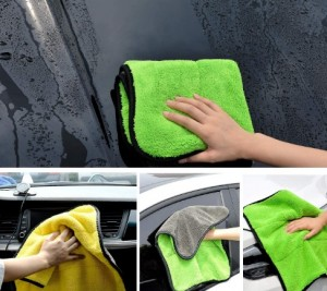 Microfiber coral fleece car drying towel
