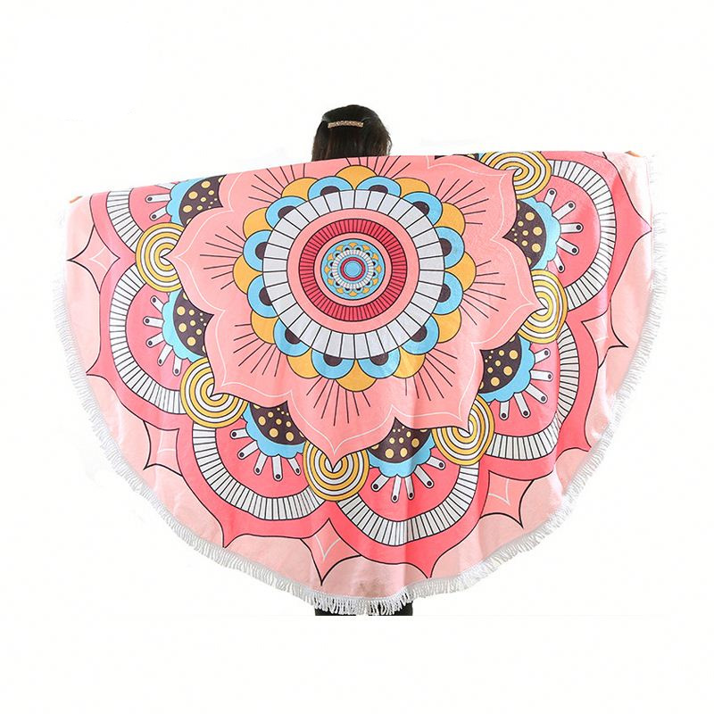 Round 100% Polyester Beach Towel Customized Pattern Microfiber Towel Featured Image