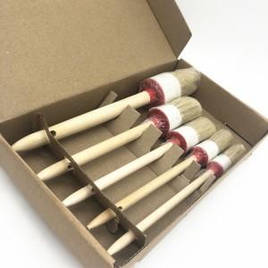 Natural Wood Handle Soft Bristles Car Detailing Brush Set 5 Sizes Per Set