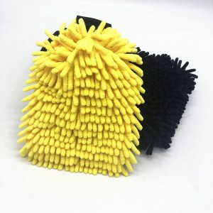 Ultra Soft Coral Fleece Chenille Wash Mitt Car Cleaning USing