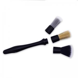 Removable car detailing 3 pcs per set brushes soft boar hair auto detailing brushes