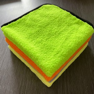 Colorful Microfiber Long Short Piles Towel with border edge-B