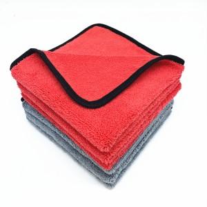 Black Border Edge Microfiber Long Short Piles Towel Car Detailing Cloth-B
