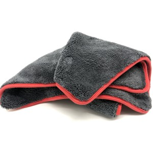 Red Border Edge Microfiber Coral Fleece Towel for Car Detailing