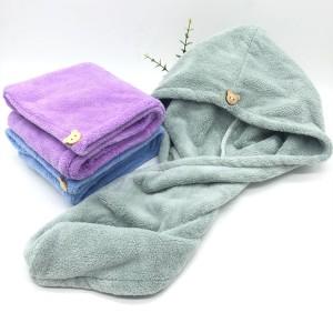 Microfiber Plush Hair Drying Towel Solid Color Long Piles Hair Drying Wrap