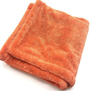 Orange Color Double Twisted Towel Car Drying Using Microfiber Cleaning Cloth