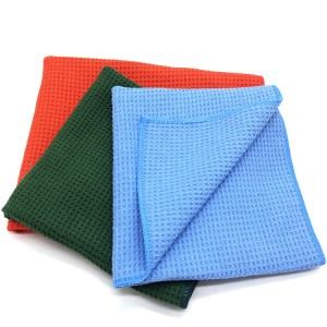 Microfiber No Lint Glass Towel and Window Cloth Microfiber Waffle Towel-B