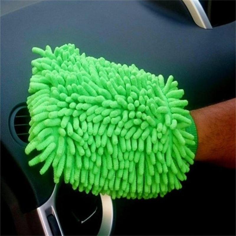 green chenille mitt