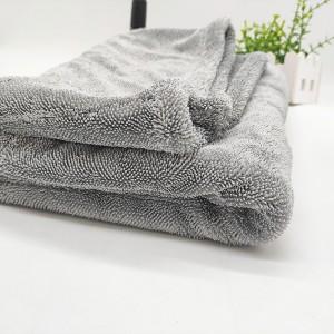 Microfiber twist loop towel light grey large size drying car towel